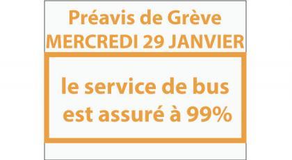 Préavis de Grève du mercredi 29 Janvier : 99% du service assuré